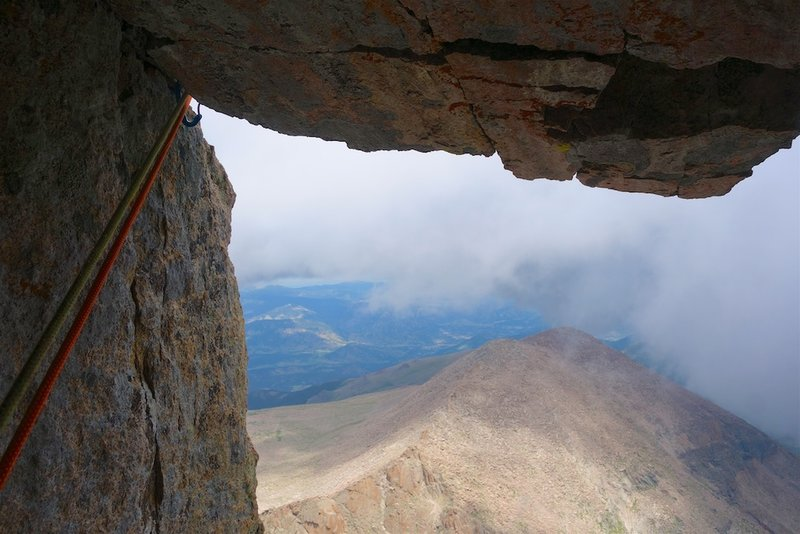 The roof exiting the Black Dagger chimney on pitch 3.