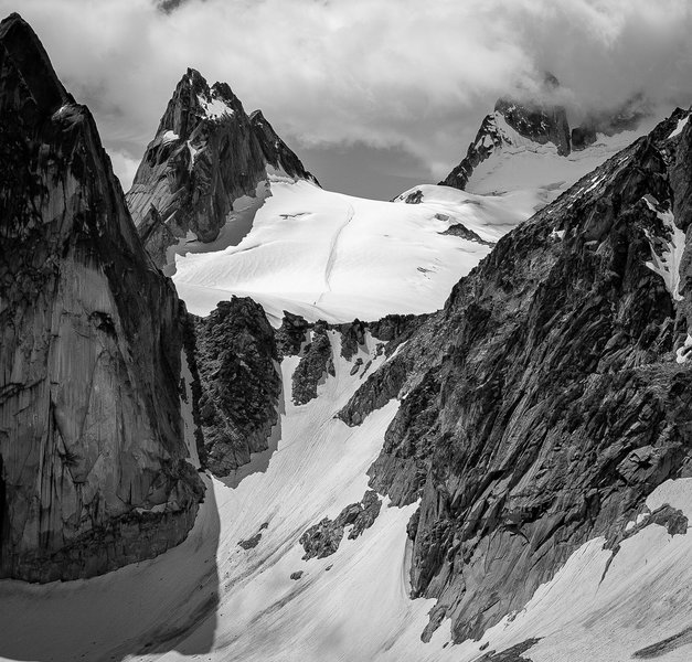 Approach up the BS col, across the vowell glacier...