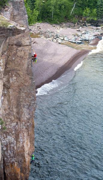 Me on the upper arete of Yamadori. <br> Photo: Rutger Van Huber