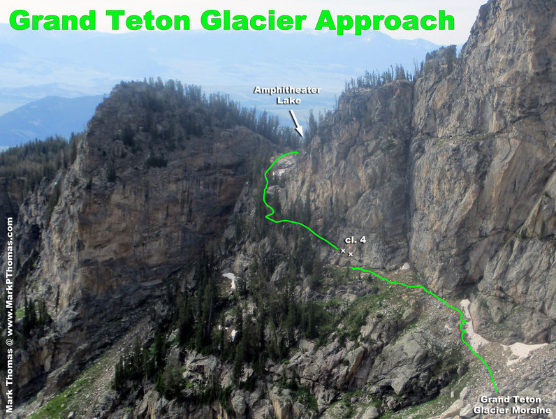 Approach linking up the trail to Amphitheater Lake to the East Ridge route and Grand Teton Glacier camp. 'x's are for fixed rods in the rock that can be used to protect the cl. 4 section.