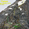 The crux section of the East Ridge of the Grand Teton, with the standard variation shown in yellow.