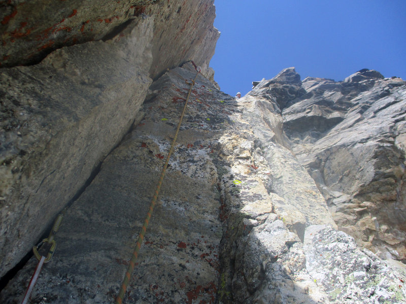Final section of the second pitch to our off-route variation.
