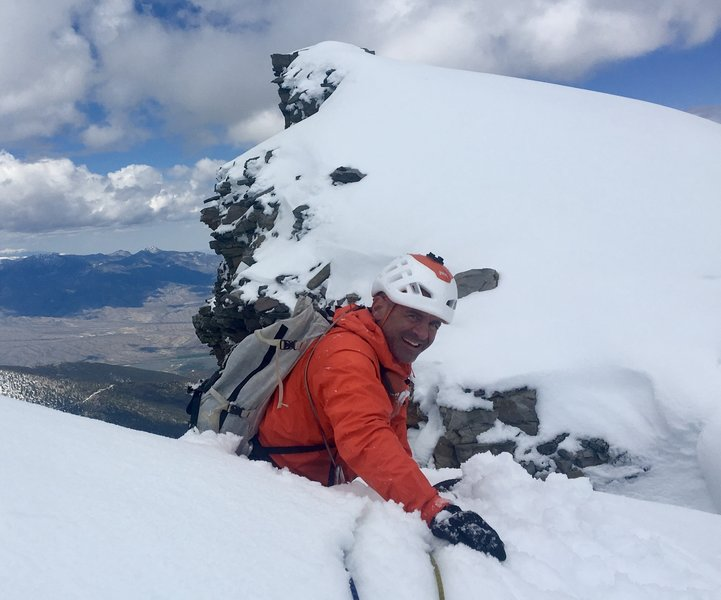 John Climaco pulling through the snow tunnel onto the summit ridge of Wheeler Peak