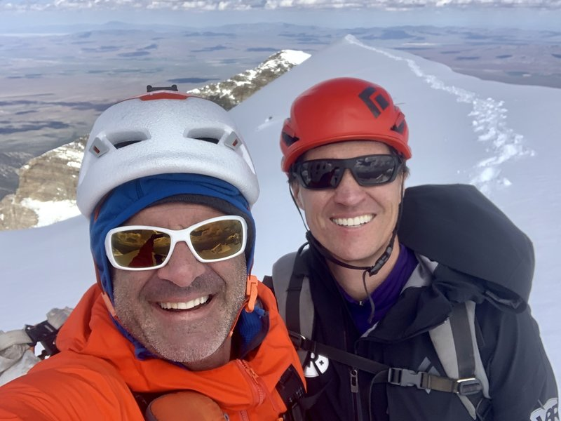 Scott McIntosh and John Climaco on the summit of Wheeler Peak after repeating the Wheel Deal, June 4, 2019.