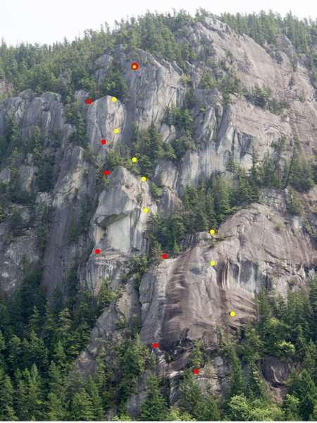 Route Overlay. Red dots are belays and yellow dots are rappels.