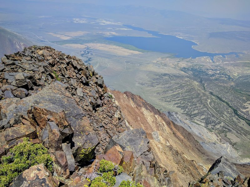 Looking down the Nevahbe Ridge to Lake Crowley below