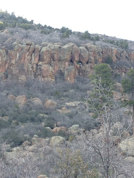 Blurry photo, but shows the white streak and hole features on Donut Lust as seen from the bottom of the canyon.