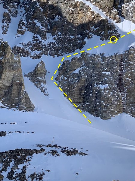 The approach couloir to the Wheel Deal from the glacier.