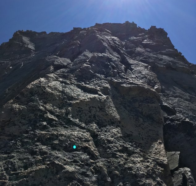 somewhere half-way up the route, riding the main arete