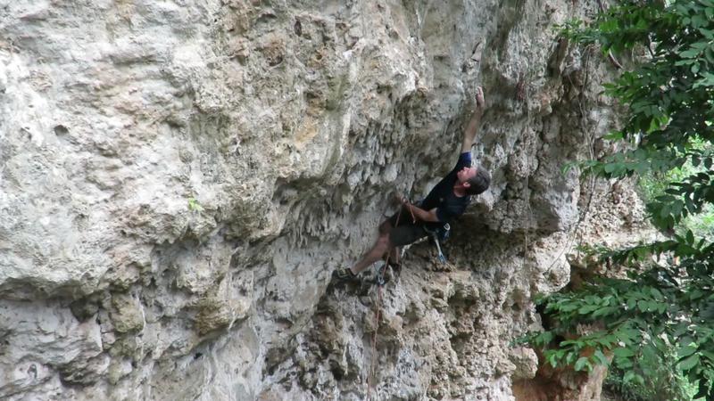 Mike climbing through the crux