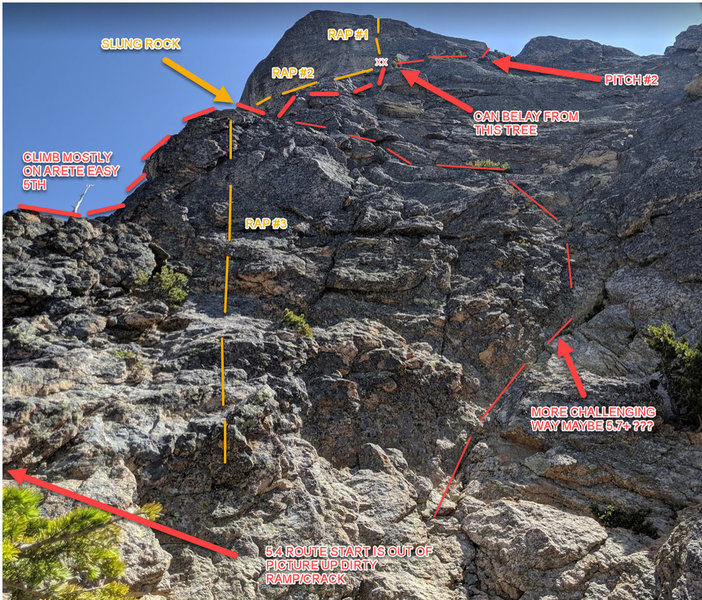Photo of P1 options, there are others. P2 and P3 are out of view. You could split P1 into 2 pitches if you wanted; one could use the rap anchor at rap #3 for a quick belay anchor.