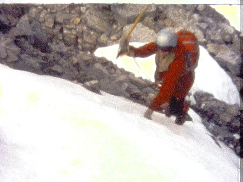 Photo 11 - Mary-Jane Cross leading the 2nd rope in the ice/snow gully  (from Super 8 film)