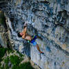 Little bit of try hard on the redpoint crux.<br> <br> Photo: Skylar Smith.