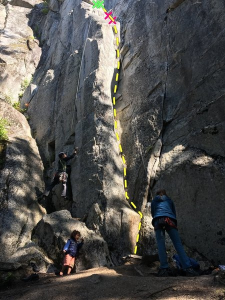 L-->R  Climber on Meltdown, Allright for Me behind large flake, cursed crack directly above belayer
