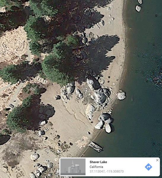 Location of the boulder during low water level.