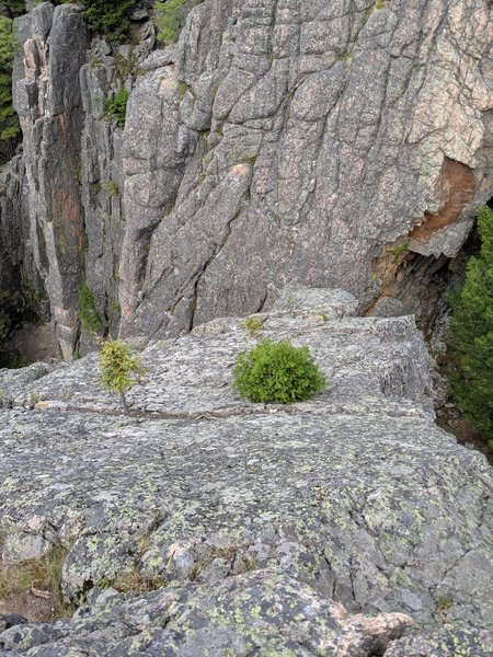 The ramp on the backside of P2 that you scramble down to a narrow spire to begin the short and super sketchy 3rd pitch.