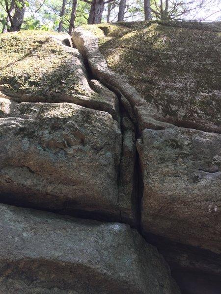Cat Pine Crack at South Freeport Boulders, Maine.
