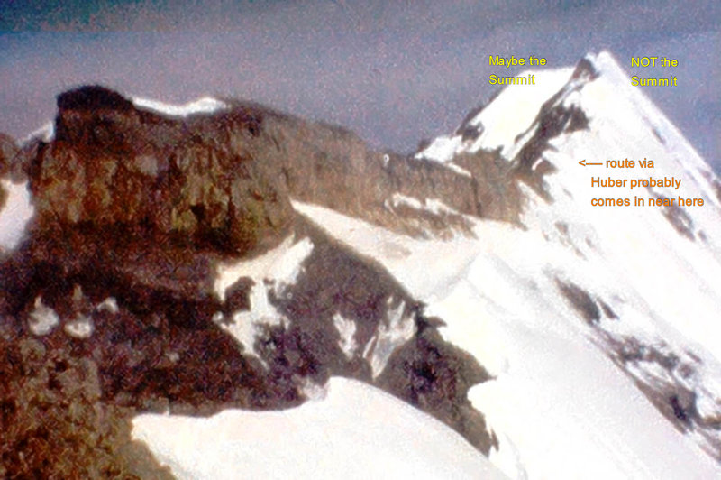 """Photo 4 - A long way to go !  Looking at the """"SE Arete"""" (the South-to-North ridge) of Mt Victoria from somewhere on, or near, our high point.  The """"high point"""" is NOT the summit!  The Summit may not even be in the photo yet!  (from Super 8 film)"""