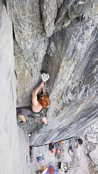 Leo crushing it on the dihedral at the 101 Crag.