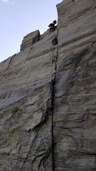 Zach, topping out on the Notch where the Capstone once was.