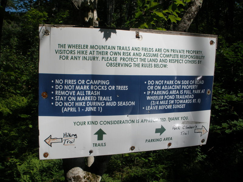 I know we're climbers and on't like to follow rules, but PLEASE lets keep on good terms with the landowner and keep Wheeler open. (Sign at the limited parking for the climber's path to the cliff.)