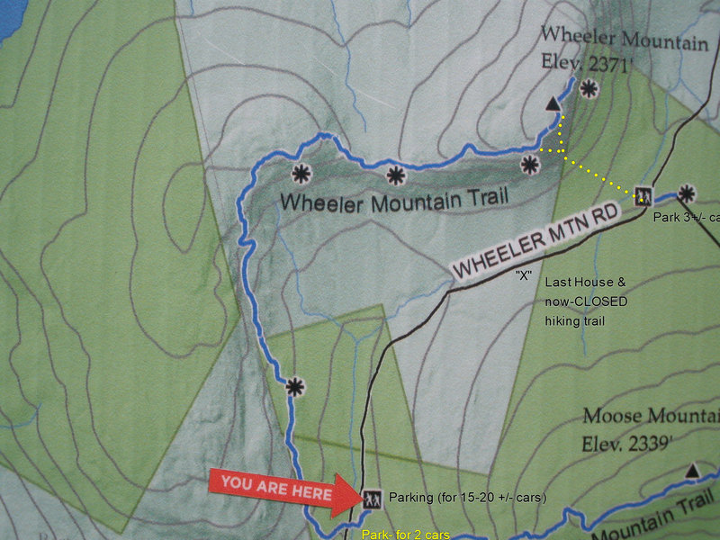 Current (2019) hiker's map for Wheeler Mtn area. There may be a branch-off trail from the official hiking trail to the slabs south of Great Corner area, but I don't know for sure.  About 1 mi. from large parking to house, another 1/2 to climbers Parking