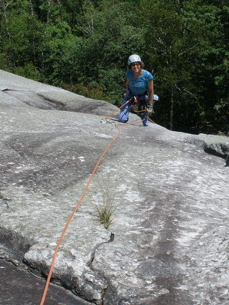 Not exactly recommended - belaying at the 2nd (older) bolt on P1 of VJ's to break-up the long P1.