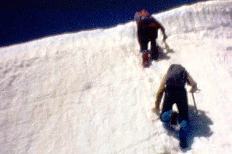 Photo 5 -  Above the cornice, along the ridge, easy snow climbing