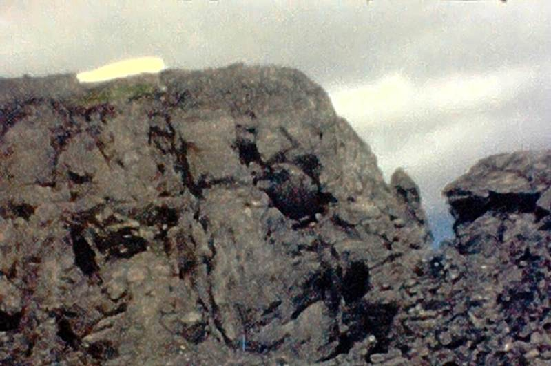 """Photo 6 - Rather than climb this to the final summit ridge, we called it a """"good day's outing""""  (from Super 8 film)"""