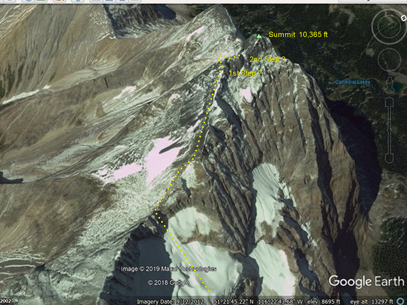 Google Earth of the upper SE Ridge of Odaray  Approx route and features marked