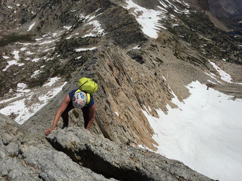 Annie high up on the North Ridge of North Peak