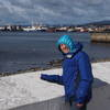S Matz looks out at the Straight of Magellen, Punta Arenas, Chile