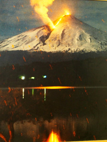 Volcano Villarrica near city of Pucan, erupting a few years before we were there in 2015