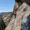 Near the end of the second pitch with the belay just past a pine tree on climbers right of the formation