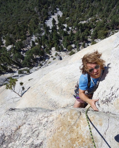 Richard pulling the final headwall on Upper Royal's Arch