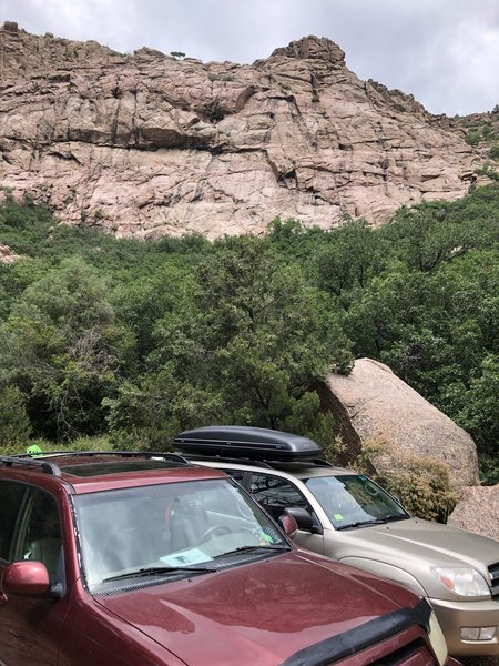 The parking area with the large boulder marking the trail in the lower right.