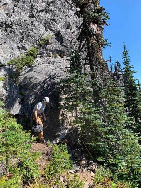 Belay Ledge, route is mostly left of this photo