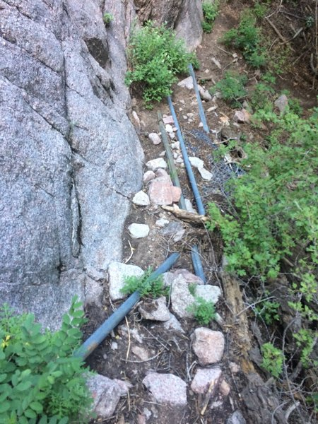 The water pipes, visible just after getting off the La Luz trail at the end of the first switchback