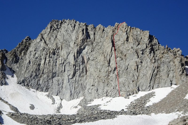 Peak 13,040' and the routeline of The Falcon (III 5.10b)