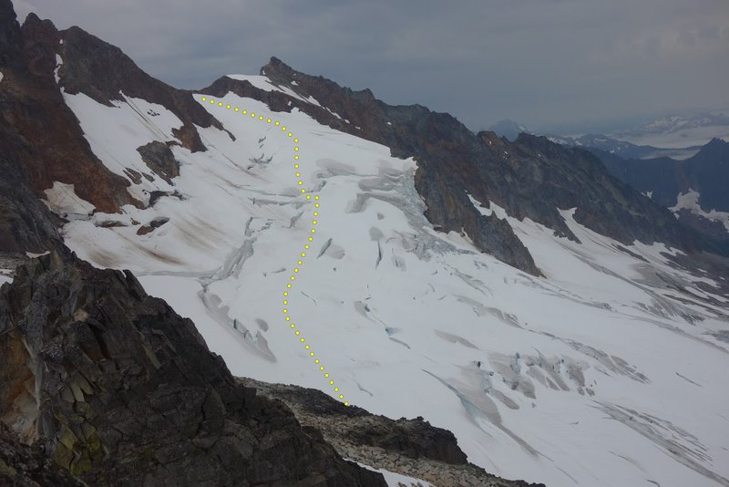 Quien Sabe glacier in August 2019. The route we (and others) used is depicted.