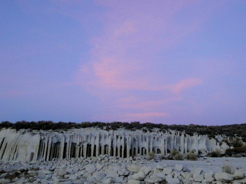 Crowley columns at sunset, Lake Crowley CA