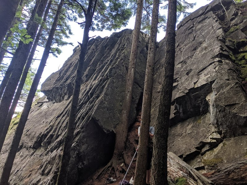 View of the four leftmost routes at the crag.