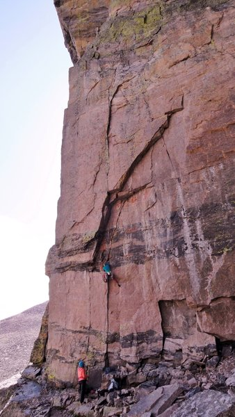 Carolyn starting up P1...making it look waaay easier than I did. This pitch is certainly not soft in the grade.