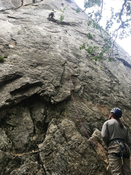 """Brendan S. belaying Andrew Upchurch on the first pitch of """"76 degrees in the shade"""""""