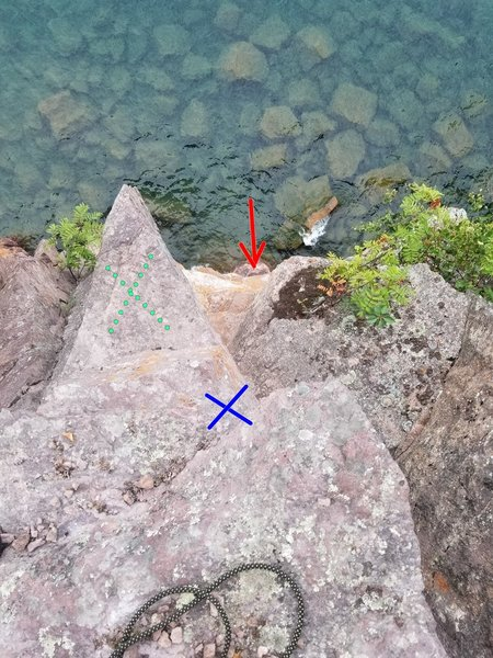 Standing at the top of Amphitrite's looking down.<br> For a top belay, you can stand or sit on the ledge marked with the green X.  Place your masterpoint at the blue X.  Lower belay ledge is marked with the red arrow.
