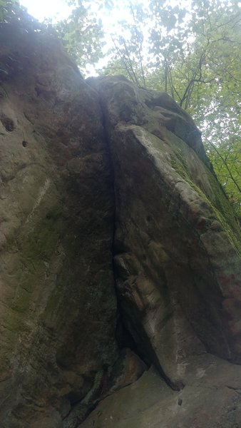 Overhanging crack. Reach for jugs on the right.