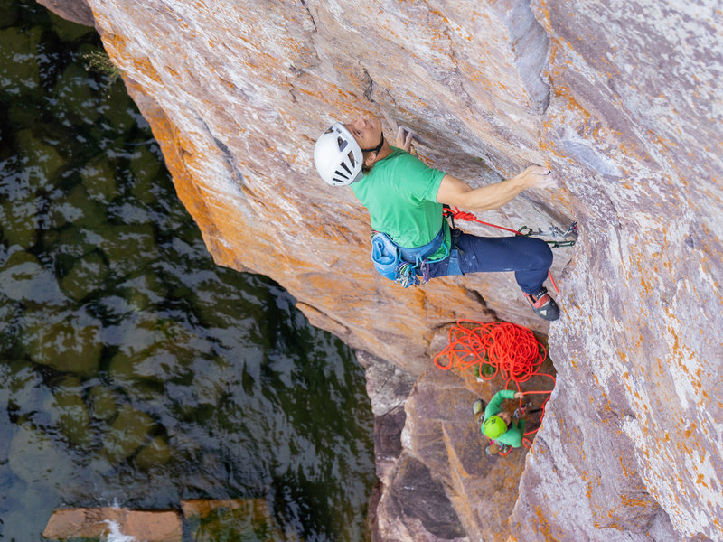 The dihedral is disappearing and the crux is a comin.<br> Photo by Rutger Van Huber