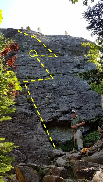 My best guess of the line for Standard Route. This seemed to be the path of least resistance when I was up there. A belay at 60ft helped keep my follower in sight for all of P1 and most of P2.