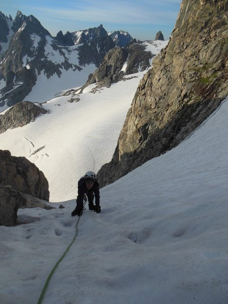 Lowe (12) nearing the top of the SE col on Gannett