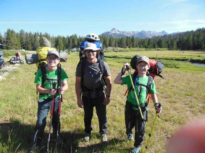Ready to start hike into Deep Lake 2019. Lowe (13), Nels(40), Porter (10).